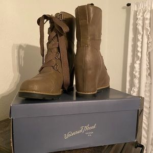 Brown wedge boots size 8